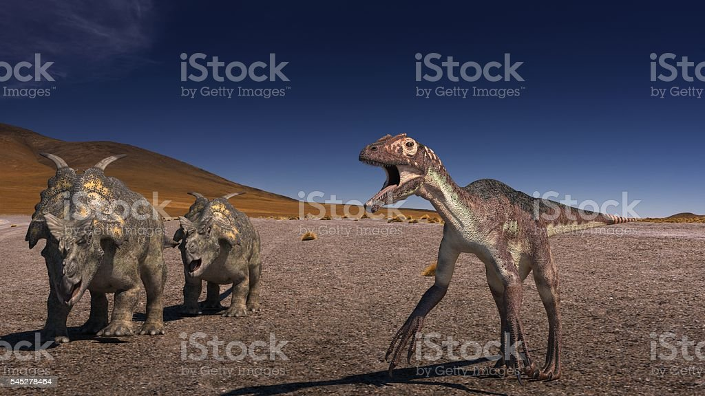 Achelousaurus vs Raptor stock photo