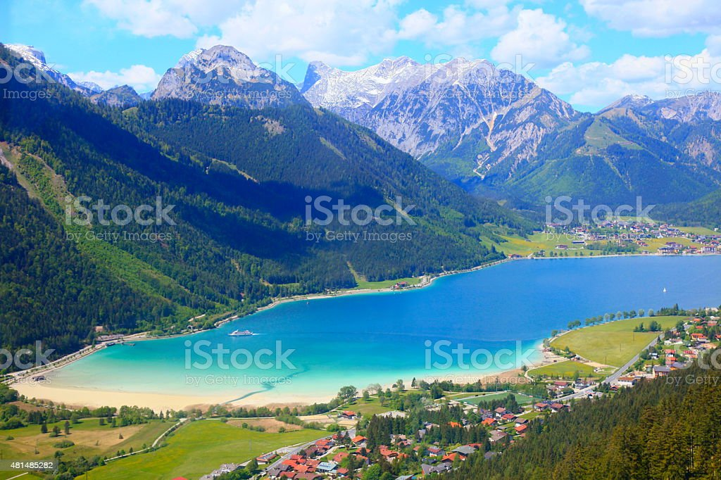 Achensee blue lake from Rofan Mountains - Tirol, Austria stock photo