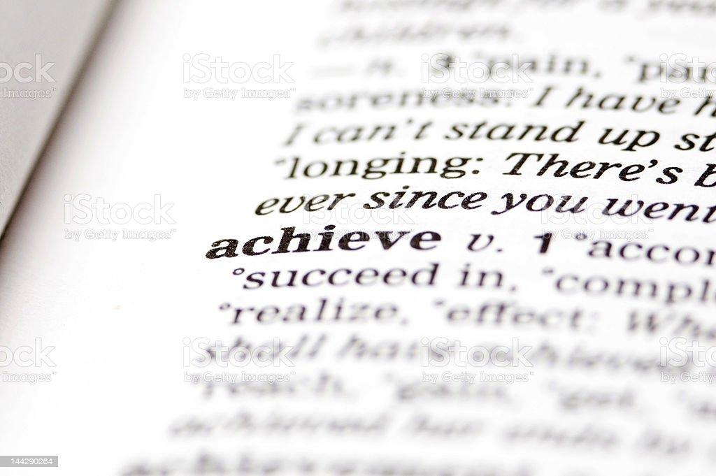 Achieve written in thesaurus stock photo