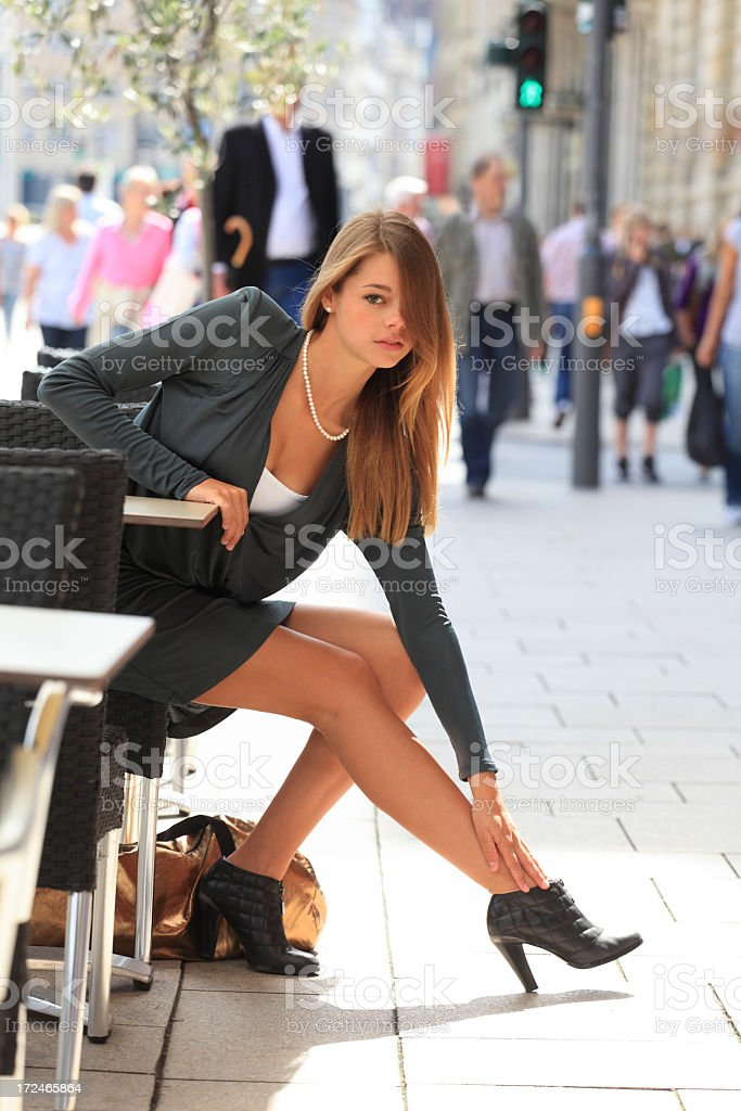 aching legs in the city royalty-free stock photo