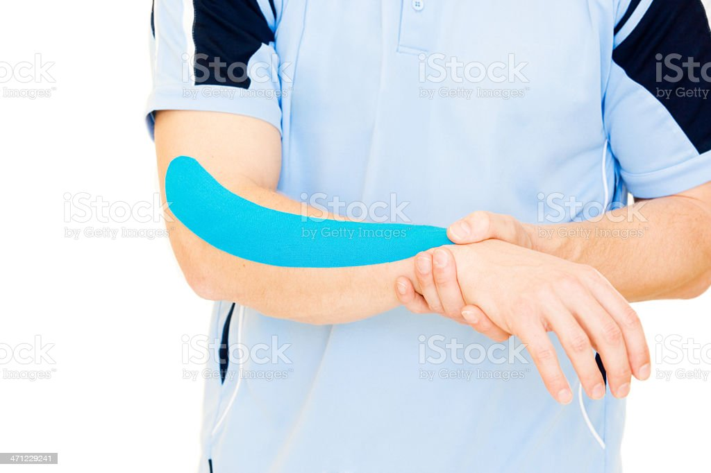 Aching tennis elbow stock photo