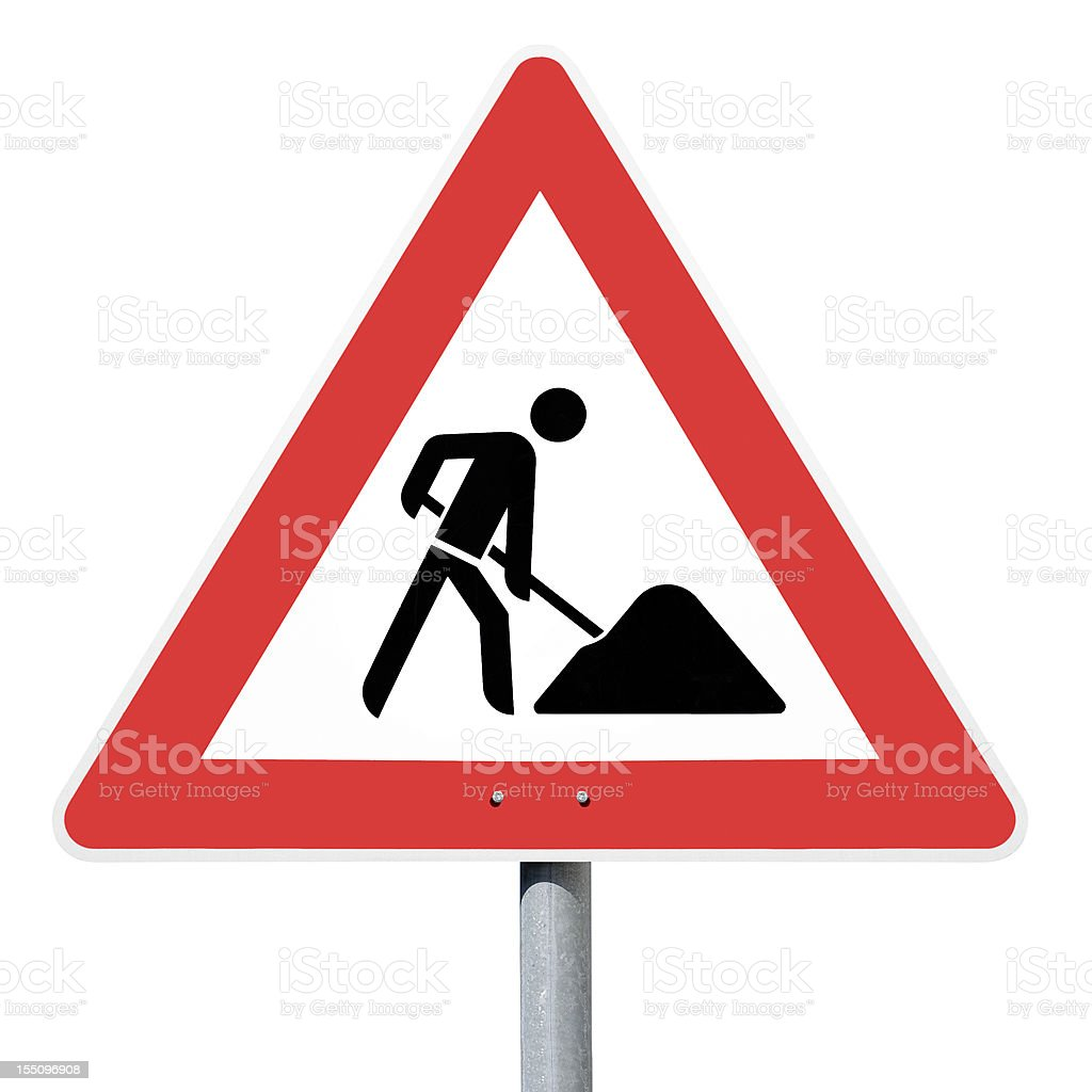 Achtung Baustelle, road construction site, german traffic sign stock photo