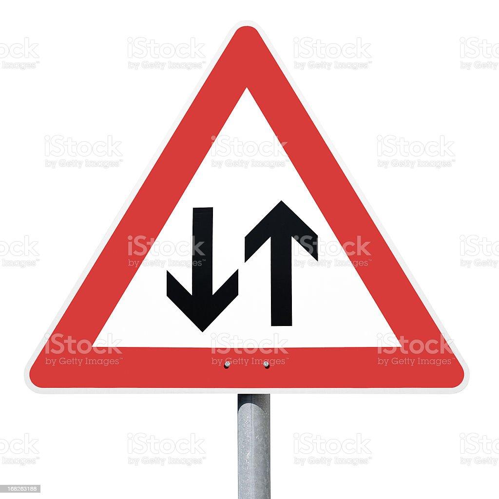 Achtung Gegenverkehr, oncoming traffic, german road sign stock photo