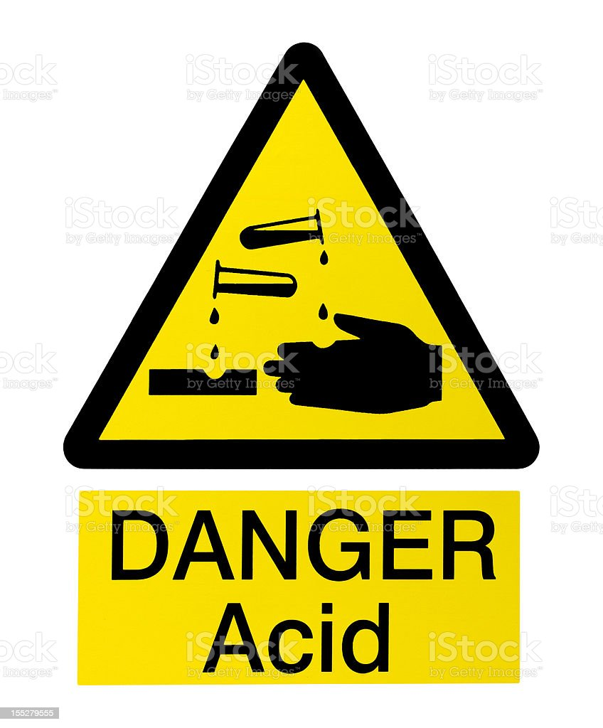Acid Danger Sign on White stock photo