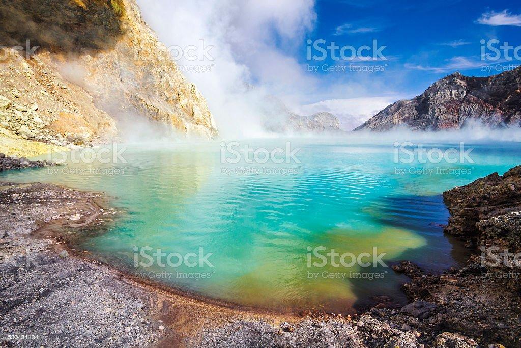 Acid Lake at Kawah Ijen Volcano, East Java, Indonesia stock photo