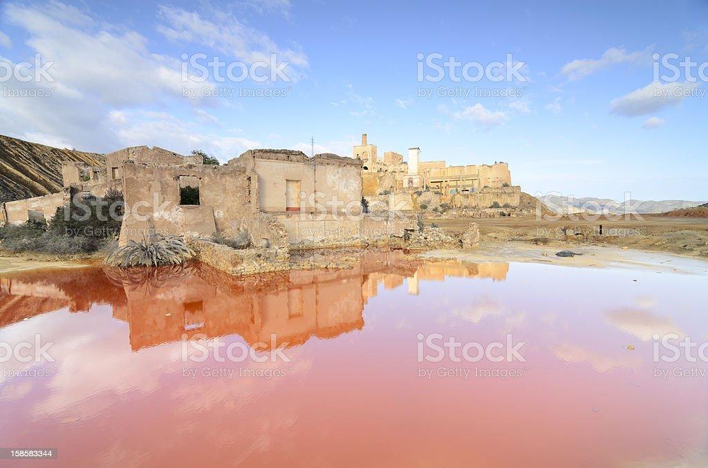 Acid lake in old mines of Mazarron stock photo