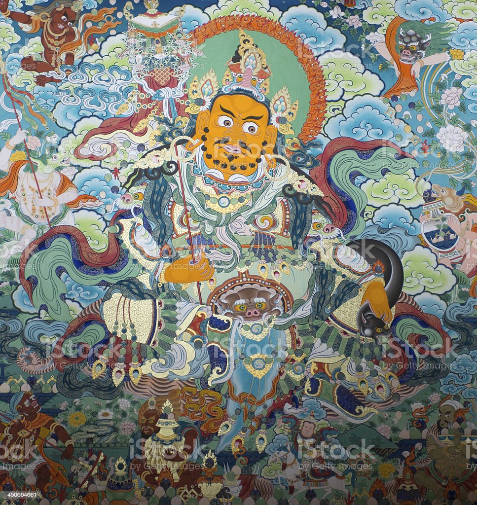 Acient Thangka in Tibet temple(cultural relic) royalty-free stock photo