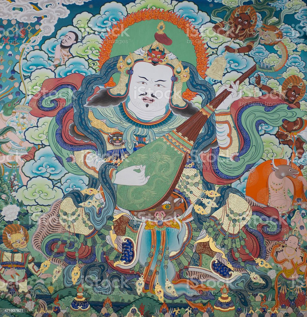 Acient Thangka in Tibet temple(cultural relic ) royalty-free stock photo