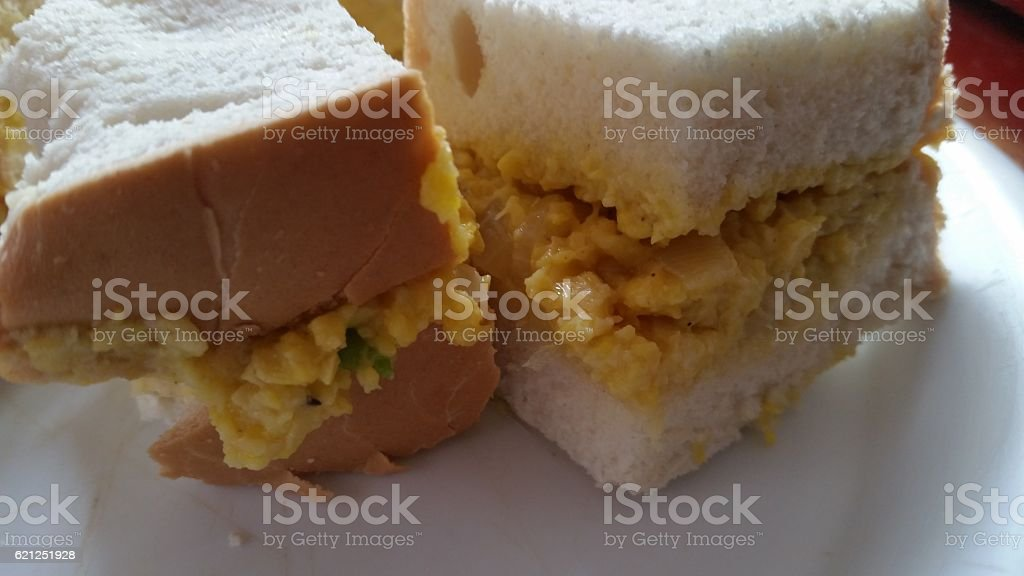 Ackee on bread in plate stock photo