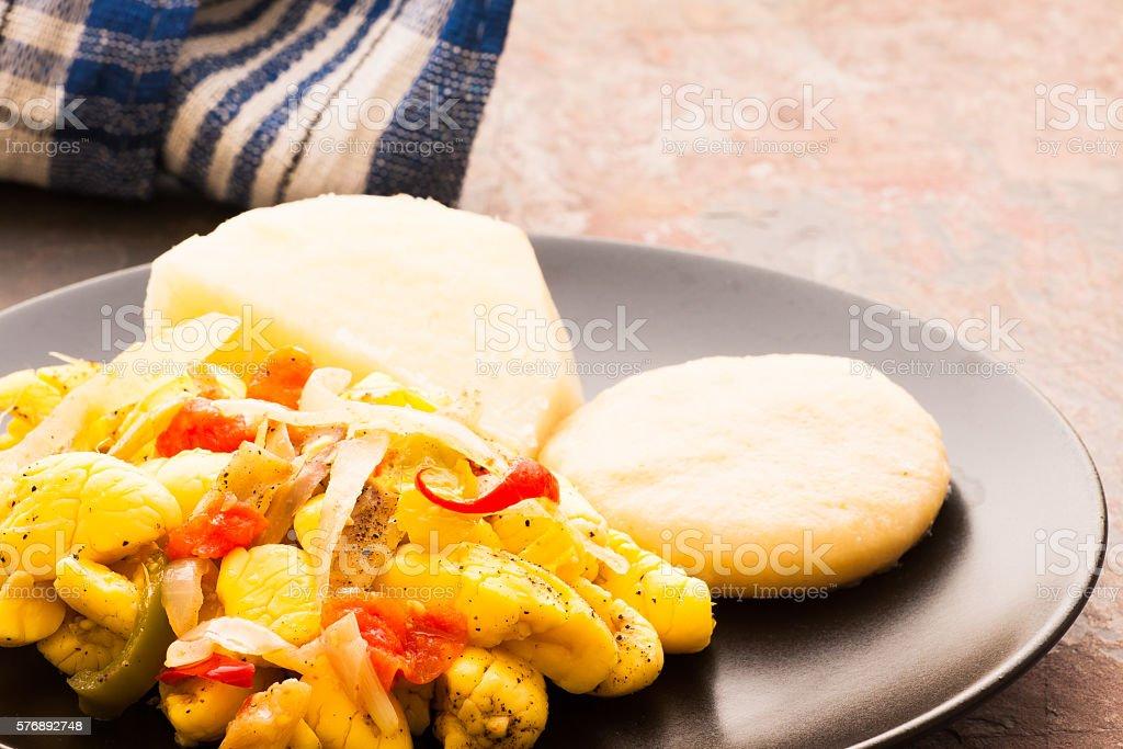 Ackee & Salt Fish stock photo