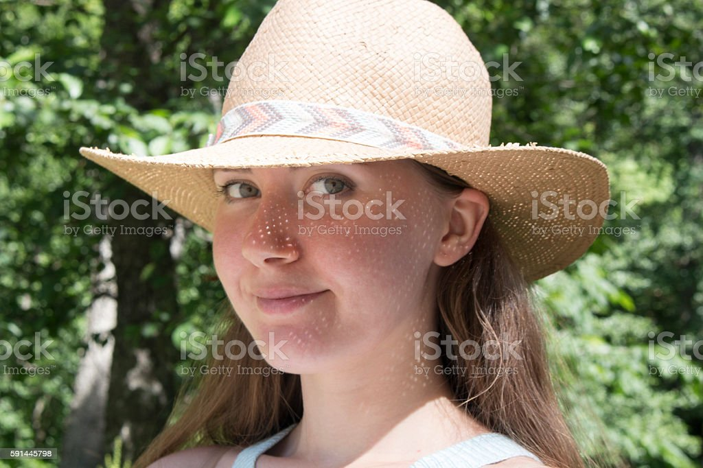 Aclouse-up portrait of a beautiful woman on farmland outdoor stock photo