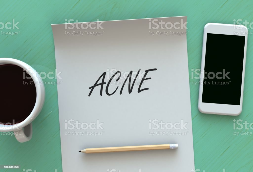 Acne, message on paper, smart phone and coffee on table, 3D rendering stock photo