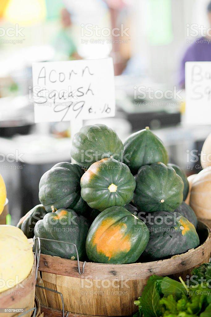 acorn squash at the market stock photo