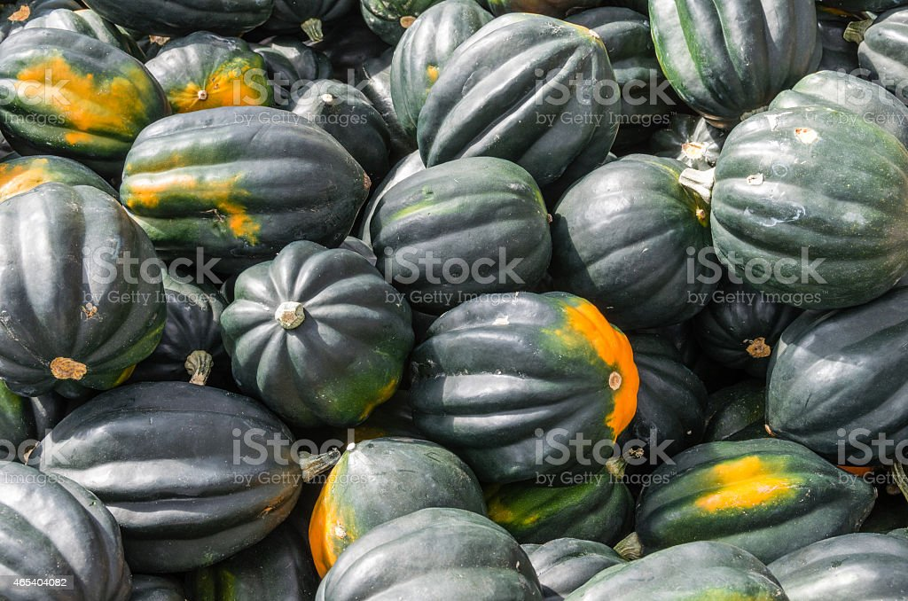Acorn squash displayed at the market stock photo