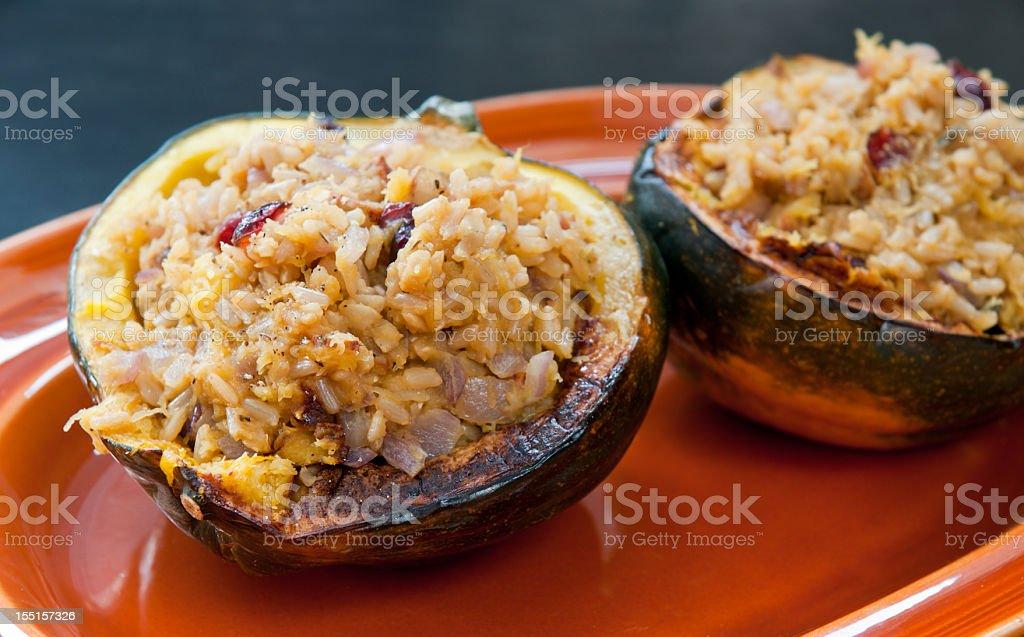 Acorn Squash Stuffed with Rice royalty-free stock photo