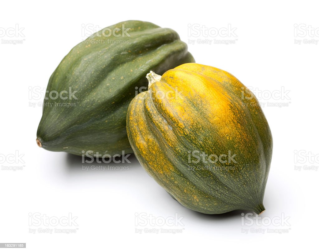 Acorn Squashes Isolated on White royalty-free stock photo