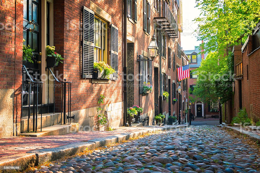 Acorn Street at Boston stock photo