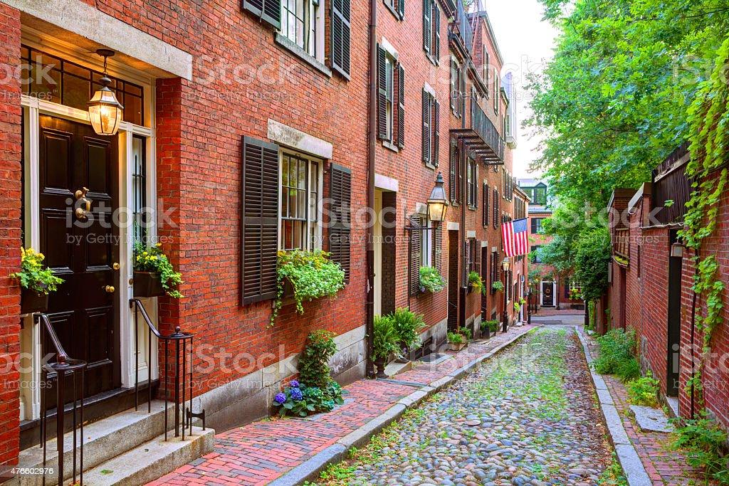 Acorn street Beacon Hill cobblestone Boston stock photo