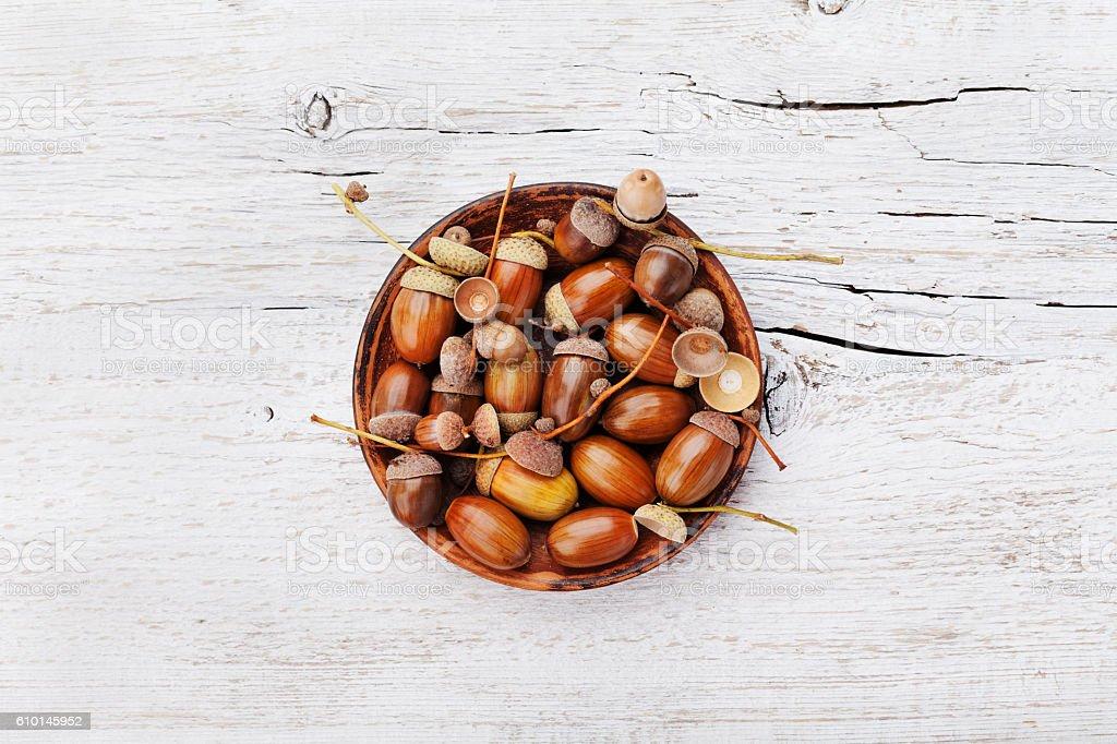 Acorns on wooden board, autumn background stock photo