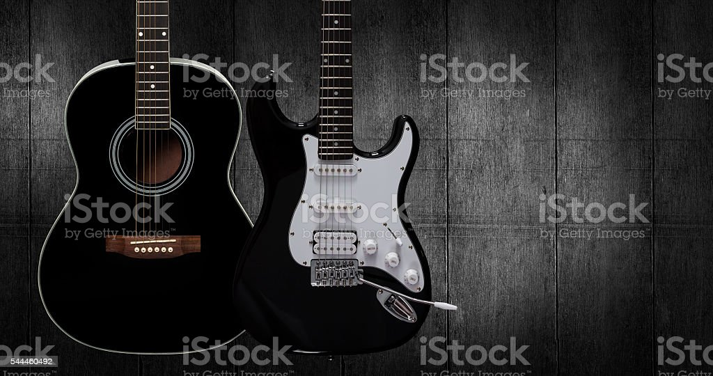 Acoustic and electric guitar. stock photo
