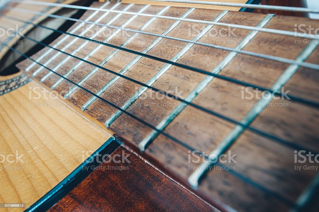 acoustic guitar, close up stock photo