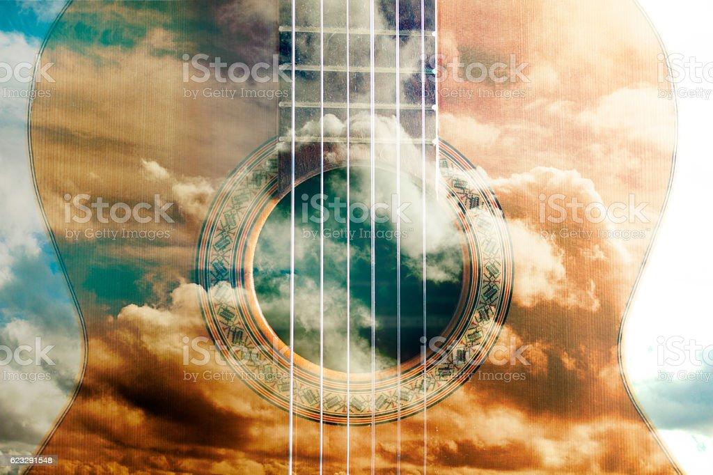 Acoustic guitar design stock photo