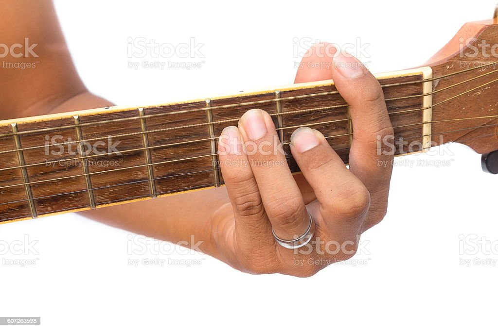 Acoustic guitar guitarist playing on a white background. stock photo