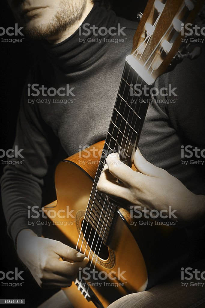 Acoustic guitar guitarist playing stock photo