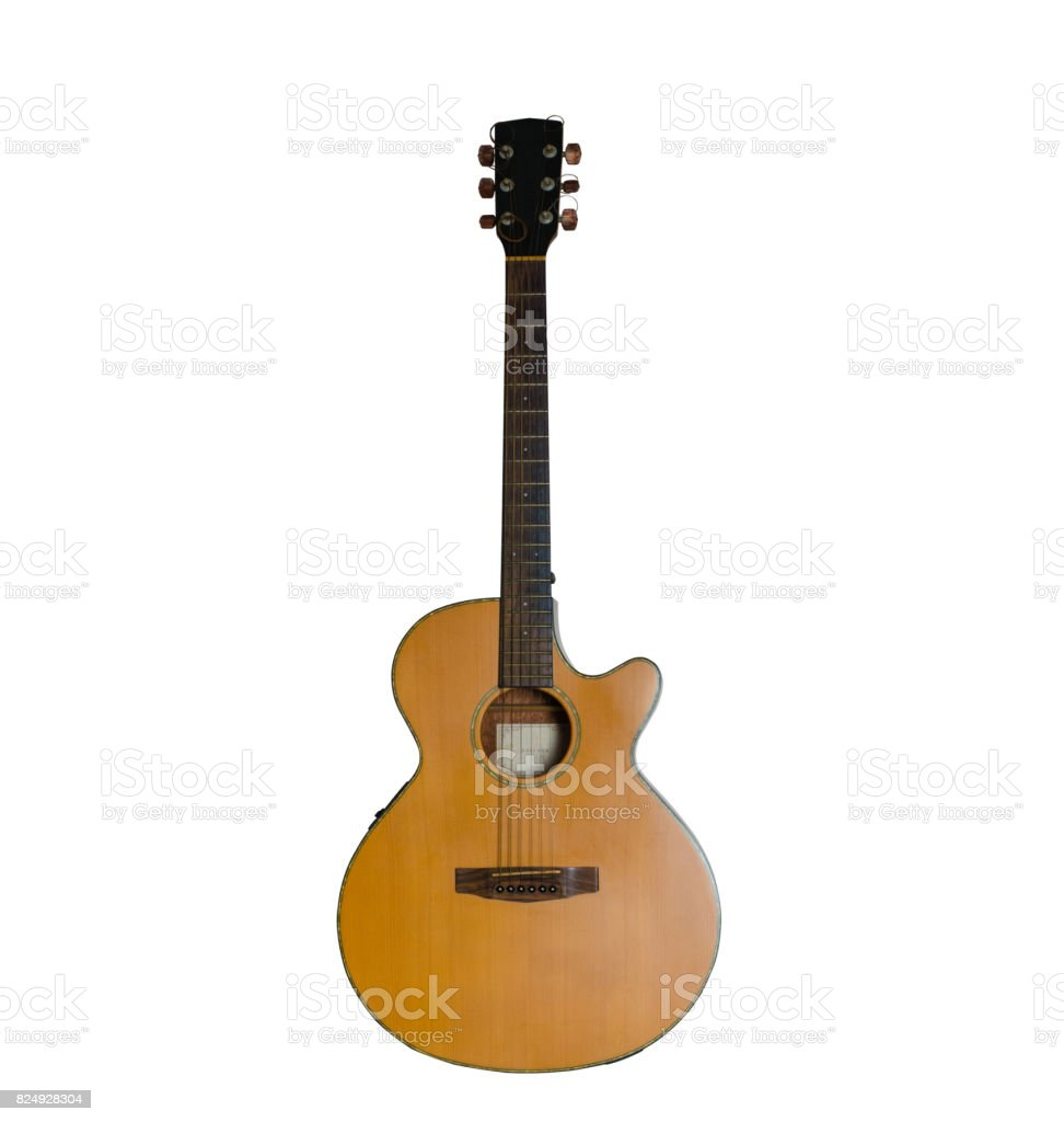 acoustic guitar isolated on white background. stock photo
