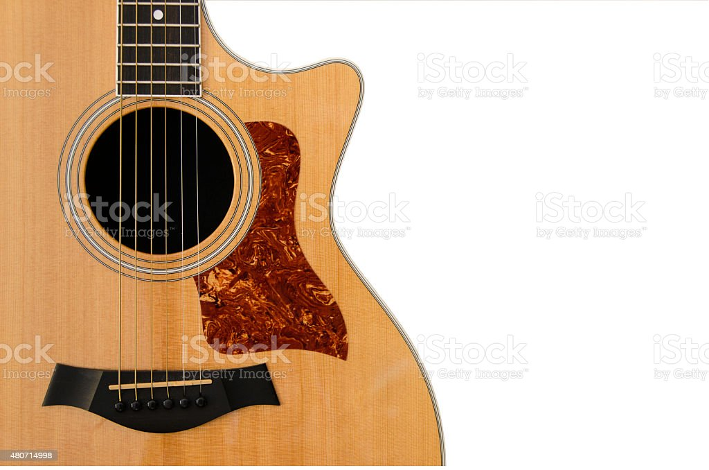 Acoustic Guitar isolated on white stock photo