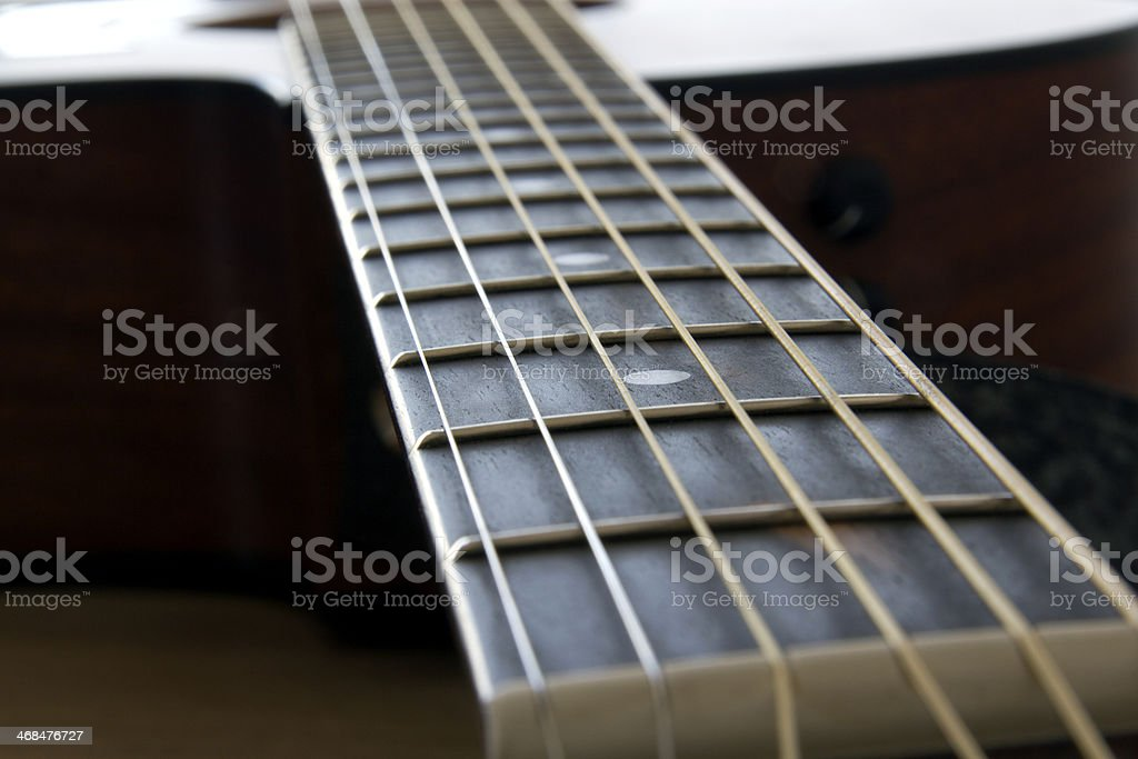 Acoustic guitar neck royalty-free stock photo