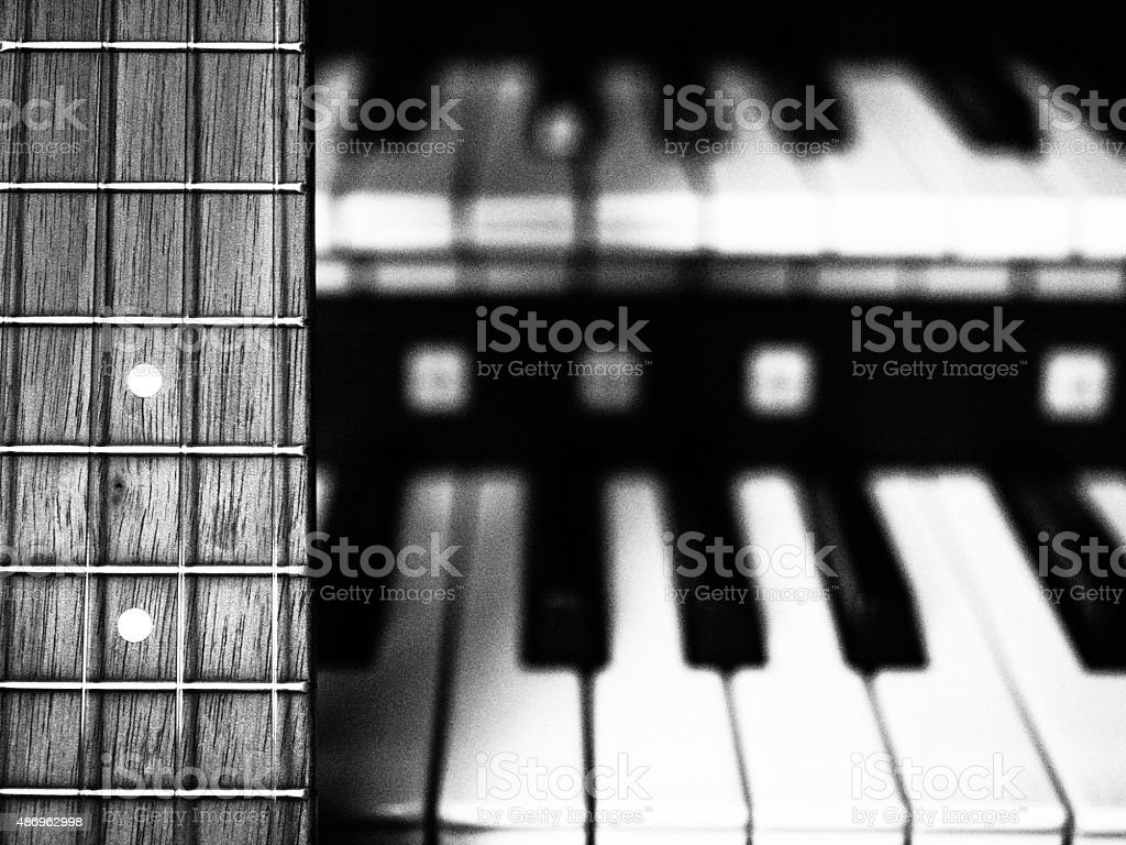 Acoustic Guitar (Ukulele) Placed in Home Studio stock photo