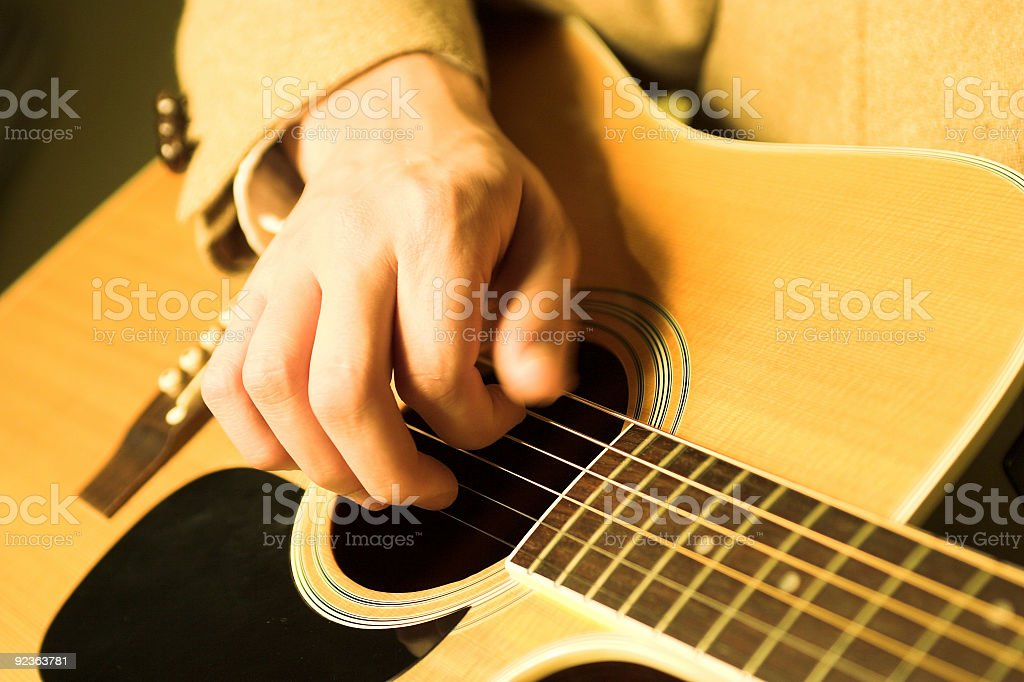 Acoustic Guitar - Playing royalty-free stock photo