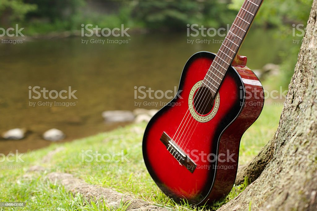 Acoustic guitar stands near the tree stock photo