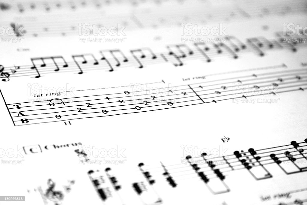 Acoustic Guitar Tablature royalty-free stock photo