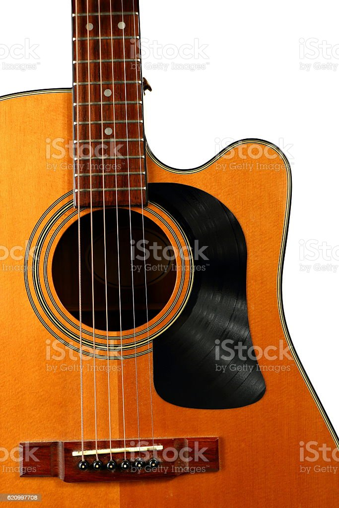 Acoustic Guitar with Vinyl Record for a Pick Guard stock photo