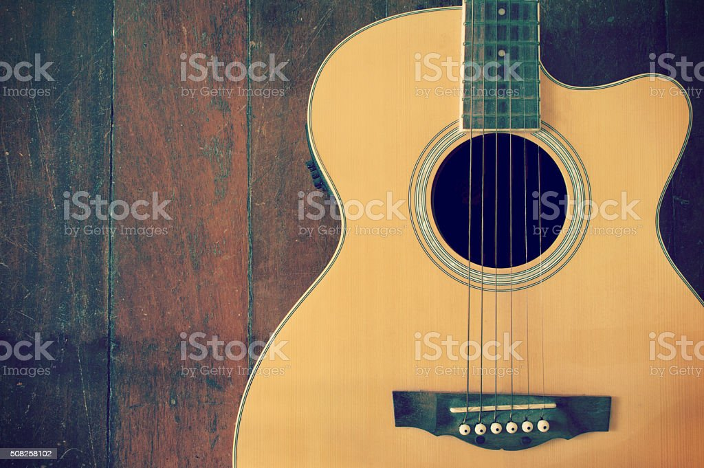 acoustic l guitar with strings stock photo
