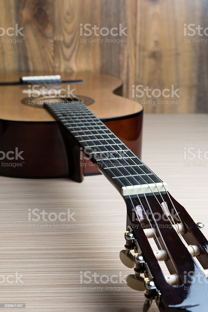 acoustic six-string guitar stock photo