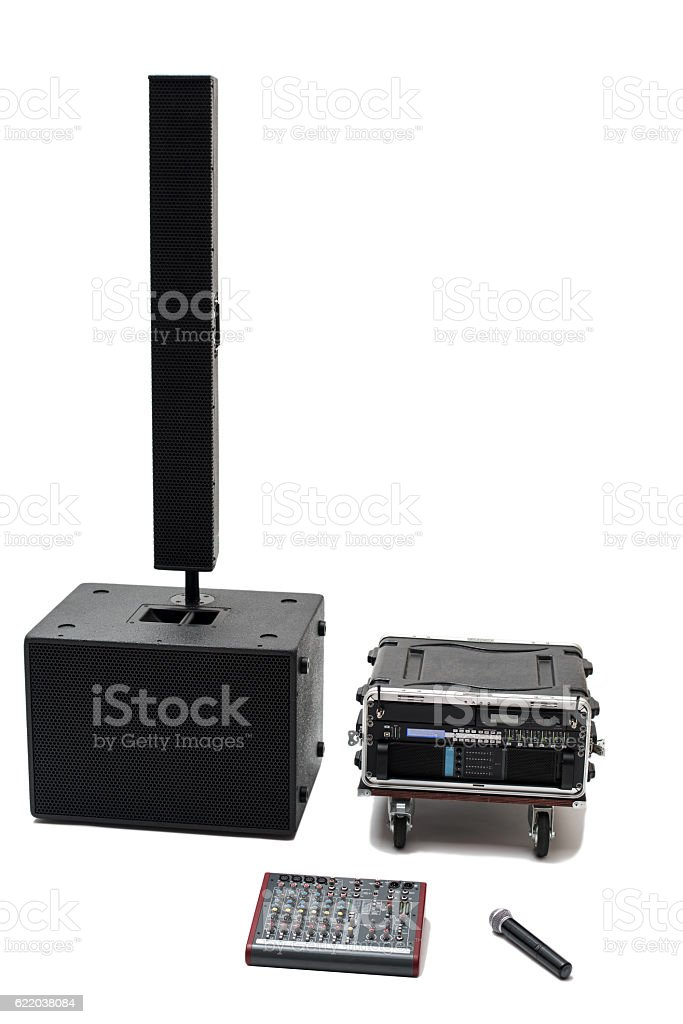 Acoustic system front view stock photo