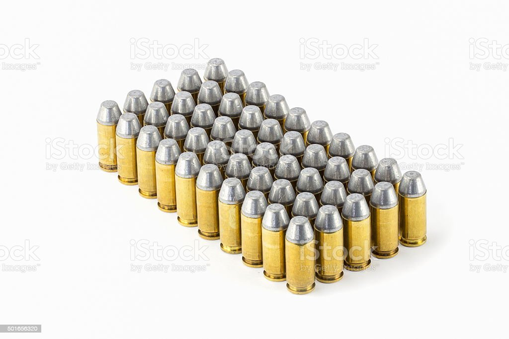 .45 acp semiwadcutter bullet isolated on a white background stac stock photo