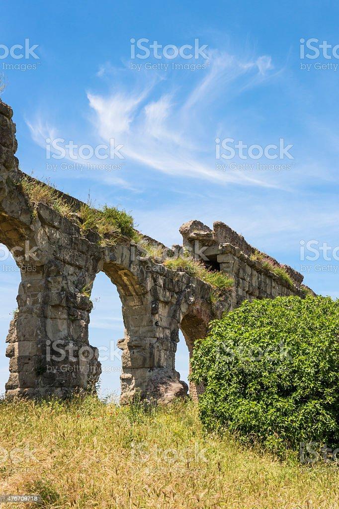 Acqueduct arch, Parco degli Acquedotti-Rome Italy stock photo