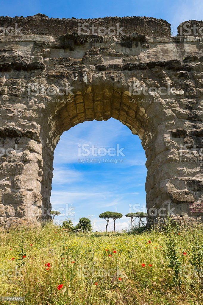 Acqueduct arch with a view stock photo