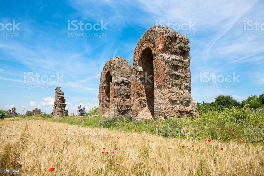 Acqueduct arch with a view, Rome Italy stock photo