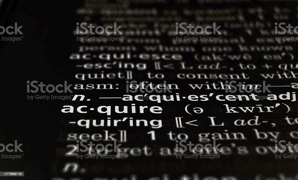 Acquire Defined on Black royalty-free stock photo
