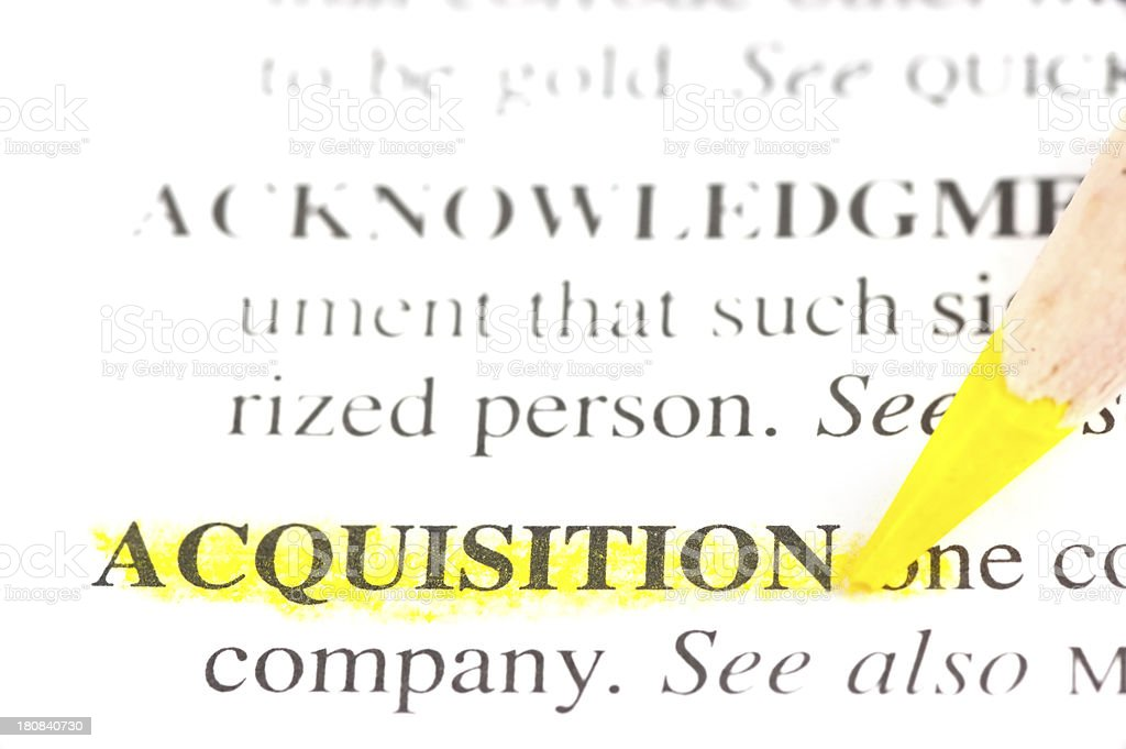 acquisition word defintion marked in dictionary royalty-free stock photo
