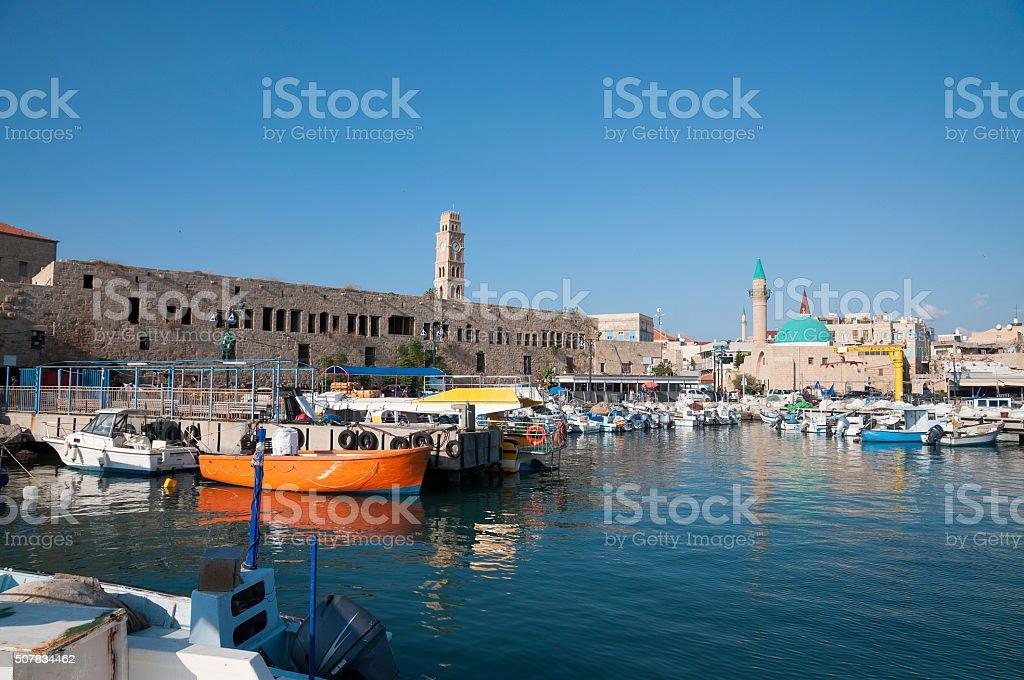 Acre (Akko) old city port stock photo