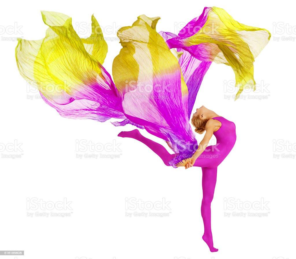 Acrobat Dancing Fabric, Flexible Woman Leotard, Gymnastics Dance, White stock photo