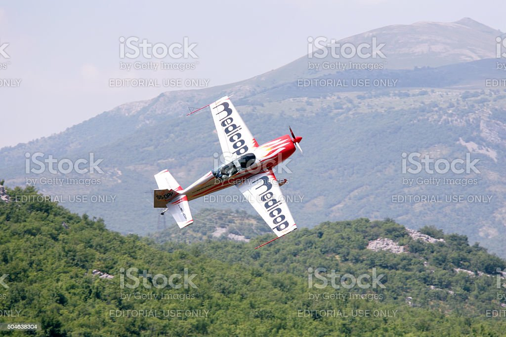 Acrobatic aircraft in action stock photo