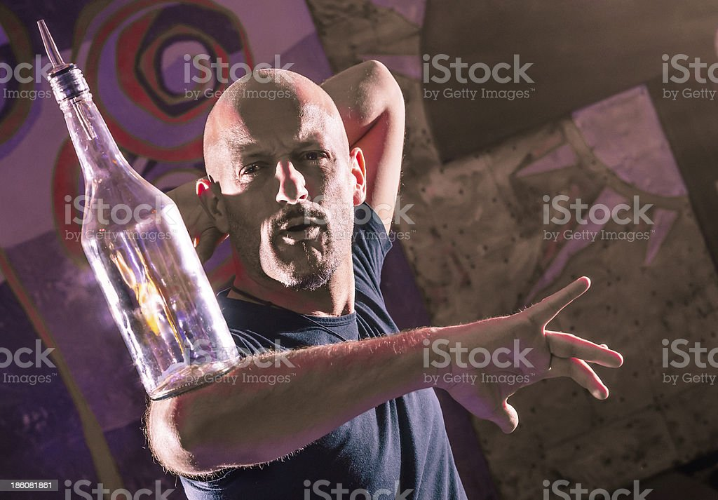 Acrobatic Barman in Action - Freestyle american Bartender stock photo