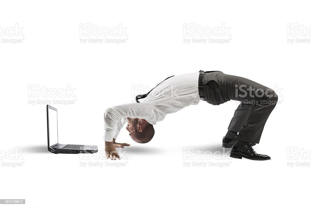 Acrobatic businessman stock photo
